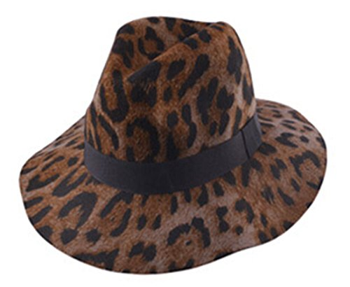 [Binn Womens Vogue Retro Leopard Fedoras Cowboy Hat Wool Jazz Cap Trilby coffee] (Leopard Cowboy Hat)