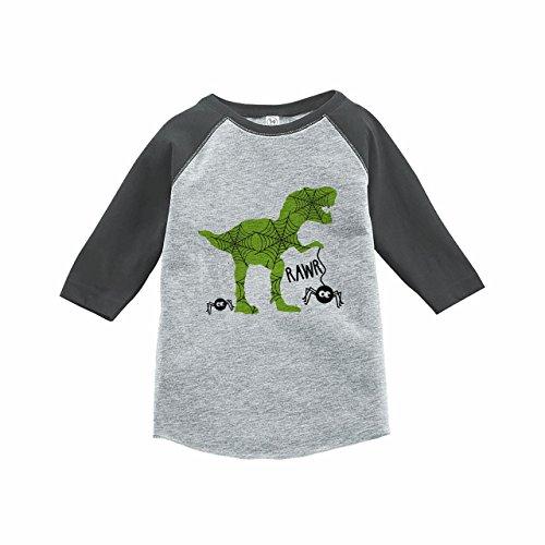7 ate 9 Apparel Boy's Dinosaur Halloween Raglan Tee Grey 2T ()