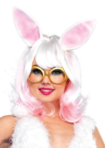 Leg Avenue Women's Bunny Two-Tone Wig with Latex Ears, White/Pink, One Size ()