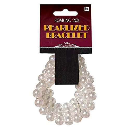 Glamorous 20's Old Hollywood Themed Party Multi-Layered Pearl Bracelet Accessories, Faux Pearl, 2