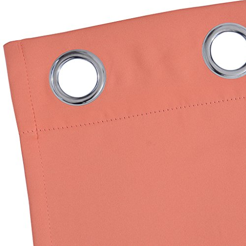 Yakamok Light Blocking Darkening Thermal Insulated Blackout Curtains Solid Grommet Top Window Draperies/Drapes/panels for Bedroom/Living Room 52x84 Inch Coral Orange 2 Panels
