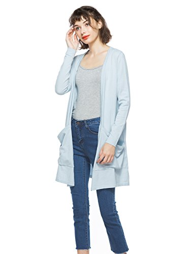 KNITBEST Women's Long Sleeve Open Front Cardigan with Boyfriend Pockets (Large, Sky - 100 Sweatshirts Cotton