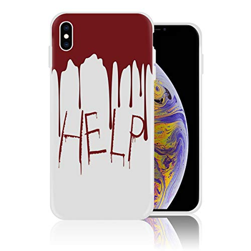 iPhone XR Case Soft Silicone Rubber Bumper Case Shockproof Full-Body Protective Case Cover for iPhone XR (6.1 inch) Flowing Blood Horror Spooky Help Me Themed -