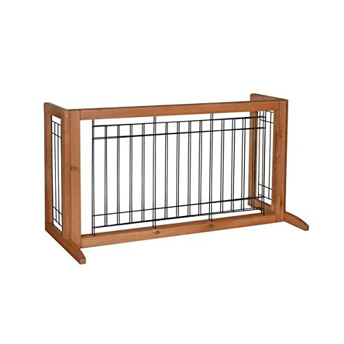 Adjustable Solid Wood Construction Freestanding Pet Gate Fence Dog ...