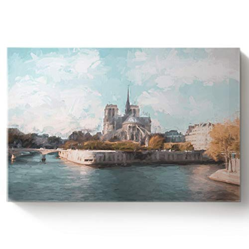 Arts Language Paint by Number Acrylic Kits for Adults Kids World Famous Building Notre Dame Cathedral on The Seine DIY Oil Paintings Canvas Framed Wall Art Decor for Livingroom Bedroom 16x20in