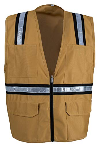 Safety Depot Safety Vest High Visibility Reflective Tape with 4 Lower Pockets, 2 Chest Pockets with Pen Dividers 1955A (Tan, Small)