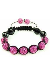 Pink Band shamballa bracelet | pink crystal bangle | women's shamballa inspired bracelet | onyx bangle bracelet (by BAGATI CRYSTO)