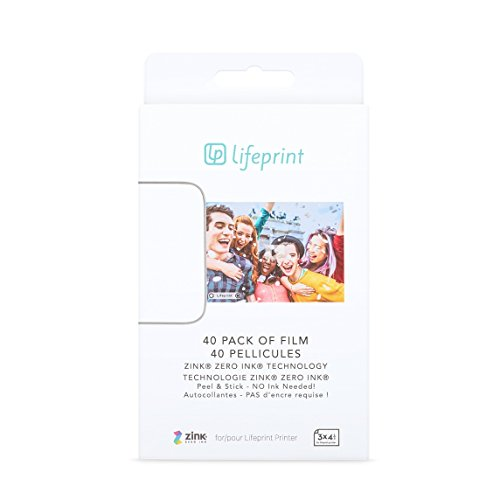 Lifeprint 40 pack of film for Lifeprint Augmented Reality Photo AND Video Printer. 3x4.5 Zero Ink sticky backed film (PH31) by Lifeprint