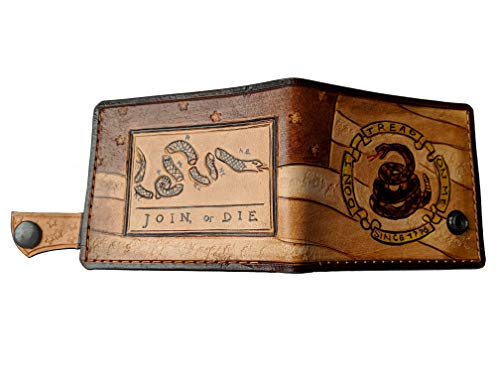 (Men's 3D Genuine Leather Wallet, Hand-Carved, Hand-Painted, Leather Carving, Custom wallet, Personalized wallet, Flag of the United States, Snake, Join or Die wallet, Don't Tread On Me wallet )