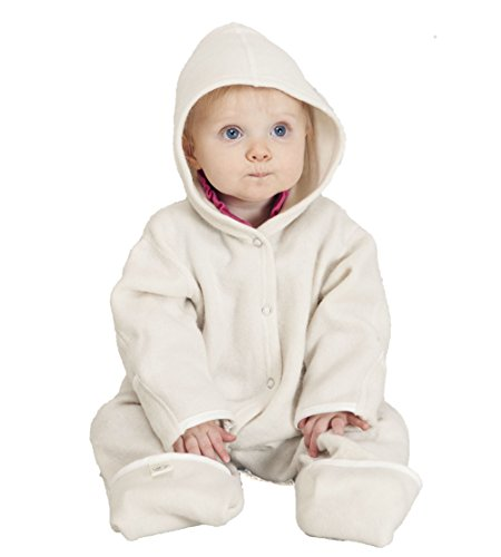LANACare Organic Merino Wool Hooded Overall, Natural White, size 62 (3-6 - Felted Booties Baby