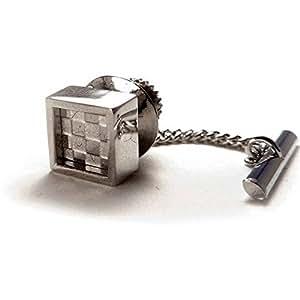 Steel Mindy Checker Tie Pin by denisonboston