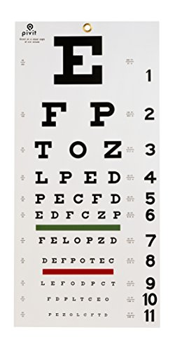 Pivit Snellen Hanging Nearsightedness Vision Test Eye Chart, 20' Distance, Non-Reflective Matte Finish with Green and Red Color Bar (Place Spoon Matte)