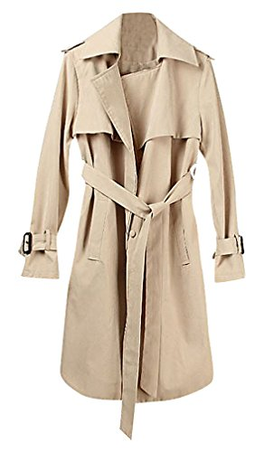 US&R Women's Mid Length Belted Trench Coat Casual Spring Autumn Fashion Jacket, Khaki Small (Coat Mid Belted Length)