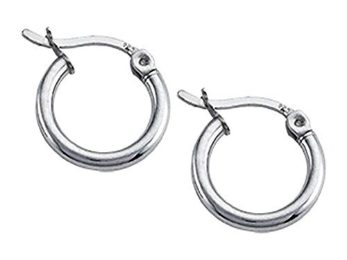 Stellar White Rhodium 2mm X 13mm Tubing Hoop Earrings Rhodium Plated Silver ()