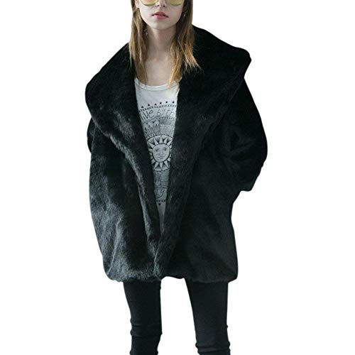 BIRAN Fourrure Blouson Femme Mode Vintage Fourrure Synthtique Cardigan Automne Warm Hiver paisseur Veste en Fourrure Uni Manche breal Chauve-Souris Jacken Manteau Schwarz