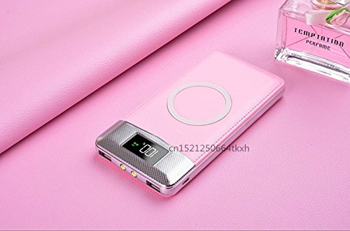 Price comparison product image T.Face 2018 NEW wireless Power Bank Dual USB Power Bank 10000mAh wireless charger Powerbank Bateria External Portable with LED Light (Pink)