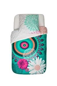 Desigual Margarita - Funda nórdica reversible (algodón, para cama de matrimonio de 155 x 220 cm)