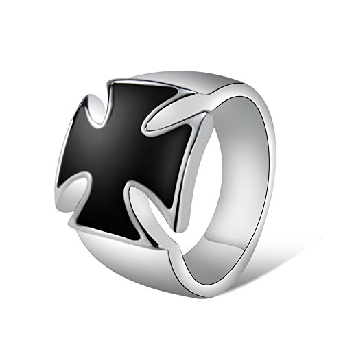 Yoursfs Men's Signet Ring Silver Plated Stainless Steel Maltese Cross Ring Men Wedding Gift Maltese Cross Mens Ring