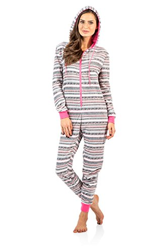Ashford-Brooks-Womens-Fleece-Hooded-One-Piece-Pajama-Union-Jumpsuit