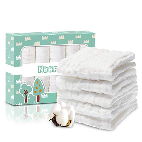 Baby Muslin Washcloths(12x12 inches,5 Pack)-100% Premium Organic Cotton- Chemical Free Baby Wipes- Soft Newborn Baby Face Towel for Sensitive Skin- Baby Registry as Shower - Organic Washcloth Cotton Baby