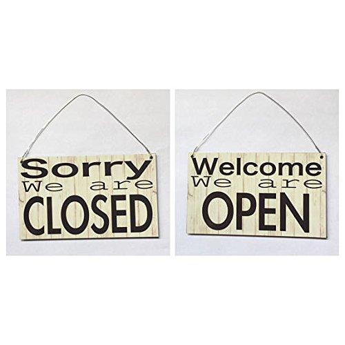 Personalizado cartel de madera, abierto cerrado oficina de ...