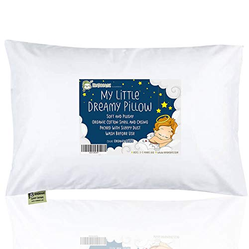 Beautiful Pillow Baby Infant Baby - Toddler Pillow with Pillowcase - 13X18 Soft Organic Cotton Baby Pillows for Sleeping - Washable and Hypoallergenic - Toddlers, Kids, Infant - Perfect for Travel, Toddler Cot, Bed Set (Soft White)