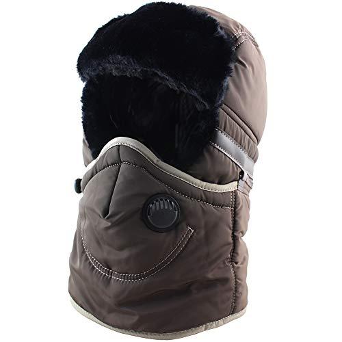 Winter Trapper Trooper Hat Ushanka with Earflaps Face Mask Windproof Waterproof Ski Hat Men Women Brown