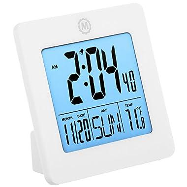 Marathon CL030050WH Digital Desktop Clock With Batteries, White