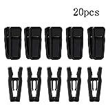 Eforlike 20 Pcs Multi-Purpose Plastic Hanger Clips Clothes Clips (Black)