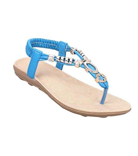 YOUJIA Mujeres Adornos de Metal Elegante T-Correa Bohemia Sandalias Verano Zapatos Planos #2 Azul