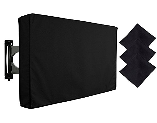 FLYMEI Outdoor TV Cover 30''-32'', Dust-proof and Weatherproof Universal Protector for LED, OLED, LCD, and Plasma Televisions with 3pcs of FREE Microfiber Cloth, Black by FLYMEI