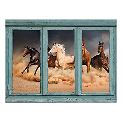 A Stampeding Herd of Wild Mustangs Across a Desert Floor Kicking up Clouds of dust and Sand Wall Mural