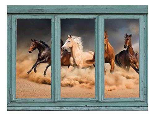 A Stampeding Herd of Wild Mustangs Across a Desert Floor - Kicking up Clouds of dust and Sand - Wall Mural, Removable Sticker, Home Decor - 24x32 inches