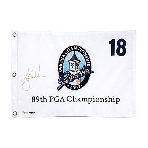 TIGER WOODS Autographed 2007 PGA Pin Flag UDA LE ()