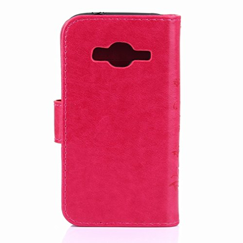 Yiizy Samsung Galaxy J1 Mini Prime / J106F Custodia Cover, Erba Fiore Design Premium PU Leather Slim Flip Wallet Cover Bumper Protective Shell Pouch with Media Kickstand Card Slots (Red Rose)