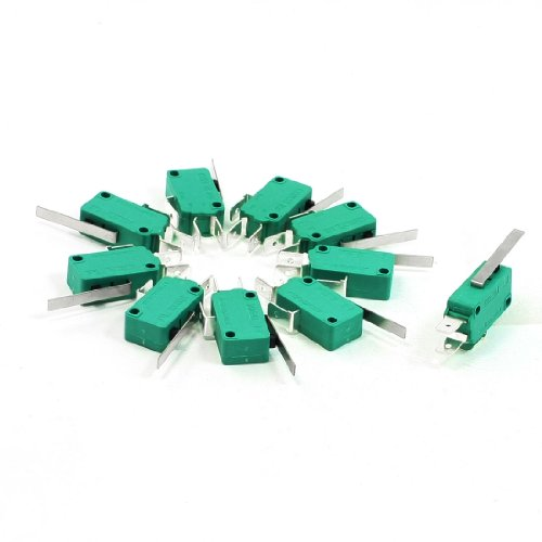Uxcell AC 250V 16 Amp SPDT 3Pin Short Straight Hinge Lever Mini Micro Switch (10 Piece), Green (Switch Kw3)