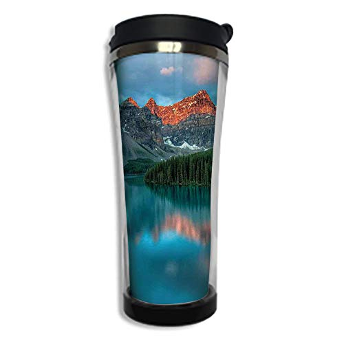 Customizable Travel Photo Mug with Lid - 8.45 OZ(250 ml)Stainless Steel Travel Tumbler, Makes a Great Gift by,Landscape,Morning Sunrise Moraine Lake in Banff National Park Snowy Peaks,Aqua Dark Orang