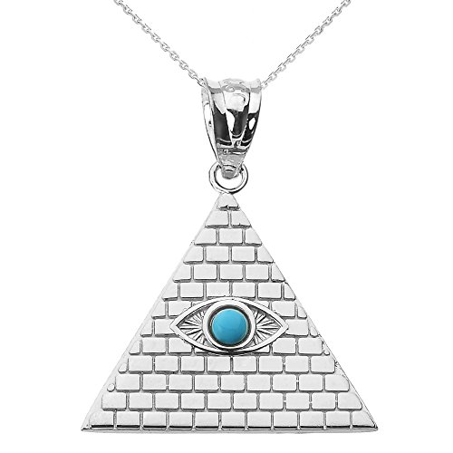 """925 Sterling Silver Egyptian Pyramid Charm with Evil Eye Pendant Necklace, 16"""""""
