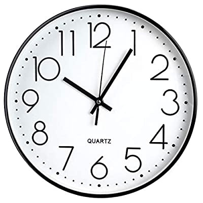 "Tosnail 12 Inches Round Silent Non Ticking Quartz Wall Clock - Elegant Black Frame - Size: 12"" in dia. x 1.5"" thick. Easy to hang. Easy to clean. Powered by 1 AA battery; Battery Not Included. Non ticking - Quiet sweep second hand, no ticking to ensure a good sleeping or working environment. - wall-clocks, living-room-decor, living-room - 41f8To38a L. SS400  -"