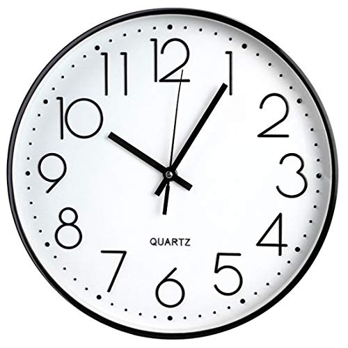 Tosnail 12 Inches Round Silent Non Ticking Quartz Wall Clock - Elegant Black Frame