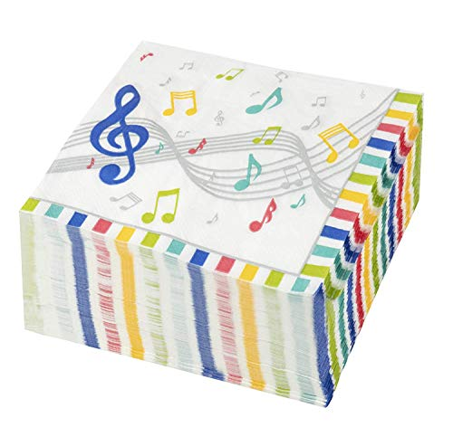 Cocktail Napkins - 150-Pack Luncheon Napkins, Disposable Paper Napkins Music Party Supplies for Kids Birthdays, 2-Ply, Unfolded 13 x 13 Inches, Folded 6.5 x 6.5 Inches by Blue Panda (Image #6)