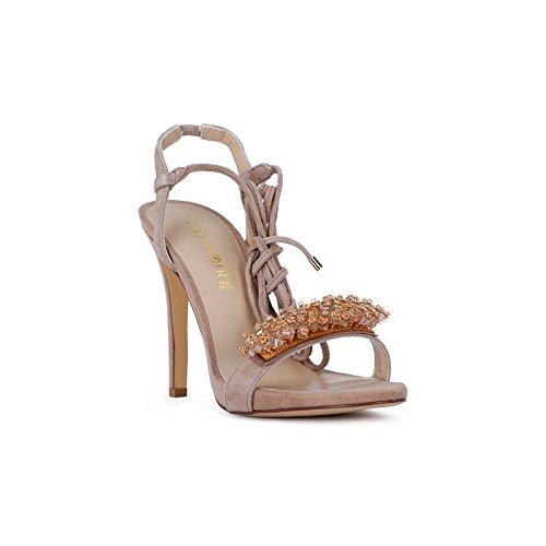 105 Sandale DE avec Beige KNB524094360 094 36 Suede en Talon Cafè Noir Accessoire MM DE xCwOpqpT