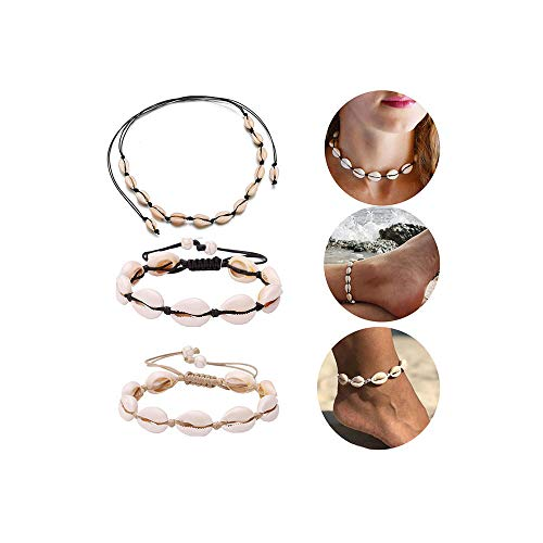 Dremcoue Adjustable Beach Shell Anklet Shell Choker Necklace Set for Women Girls Cowrie Shell Beads Jewelry Boho Puka Shell Anklet 3 pcs