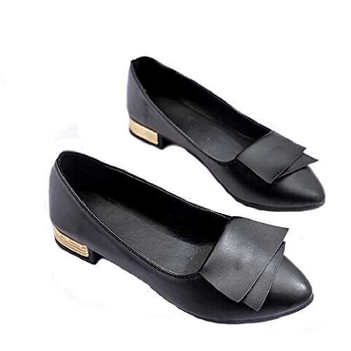 Elevin(TM)Women Office Shallow Fish Mouth Pointed-Toe Low Heel Shoes Flat Flattie Single Shoes (9US, Black)