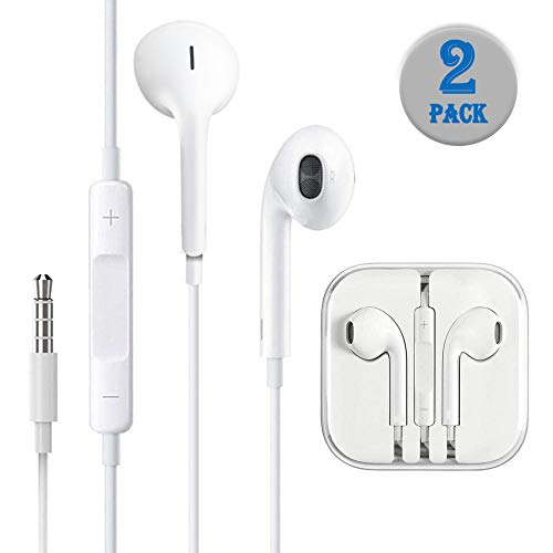 Earbuds Headphones in-Ear Earphones 3.5mm Wired Noise-Isolated White Headsets with Stereo Microphone and Controller.