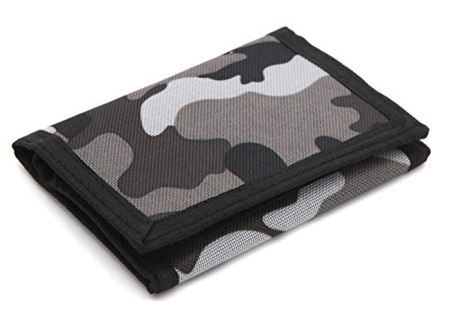 RFID Trifold Canvas Camouflage Wallet for Men,Mini Coin Purse with Zipper and Front Pocket for Kids(Gray)