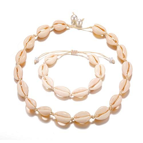 - Starain 2 Pack Beach Shell Necklace Anklet Set for Women Girls Handmade Summer Beads Ankle Bracelet Adjustable