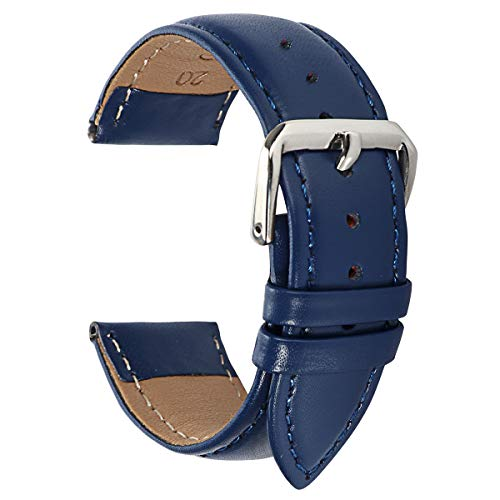 Padded Leather Watch Band 13mm Watch Leather Band Peplacement 13mm Blue Watch Band for Ladies Sport Watch Strap ()