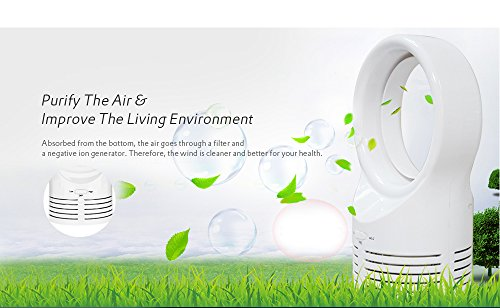 Kidsidol Bladeless Fan Mini USB Portable Air Purifier Desk Fan Safe for Children Easy to Clean Necessary Tool In Hot Summer for Home Office Outdoor Traveling Using (White) by Kidsidol (Image #3)