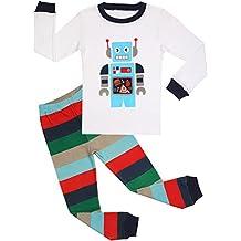BOOPH Boys Pajamas 2 Piece Truck Long Sleeve Pajama Set 100% Cotton Size2T-7T
